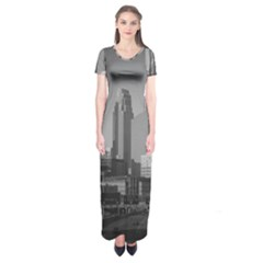 Minneapolis Minnesota Skyline Short Sleeve Maxi Dress