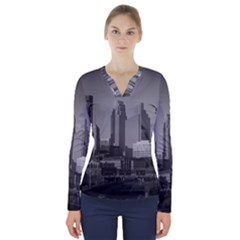Minneapolis Minnesota Skyline V Neck Long Sleeve Top