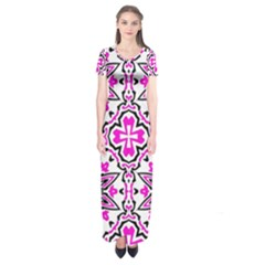 Oriental Pattern Short Sleeve Maxi Dress