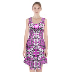 Oriental Pattern Racerback Midi Dress