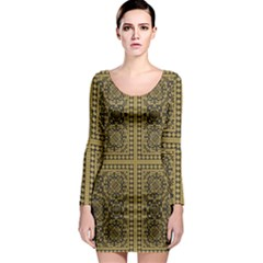 Seamless Pattern Design Texture Long Sleeve Bodycon Dress
