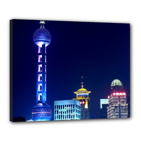 Shanghai Oriental Pearl Tv Tower Canvas 20  X 16