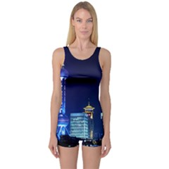 Shanghai Oriental Pearl Tv Tower One Piece Boyleg Swimsuit