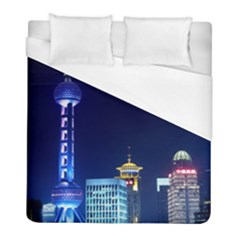 Shanghai Oriental Pearl Tv Tower Duvet Cover (full/ Double Size) by BangZart