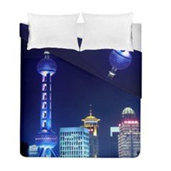 Shanghai Oriental Pearl Tv Tower Duvet Cover Double Side (full/ Double Size)