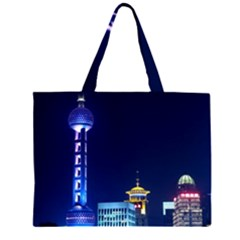 Shanghai Oriental Pearl Tv Tower Zipper Large Tote Bag by BangZart