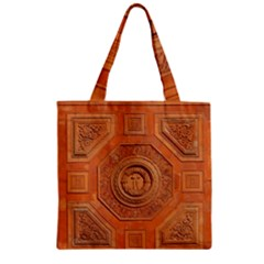Symbolism Paneling Oriental Ornament Pattern Zipper Grocery Tote Bag