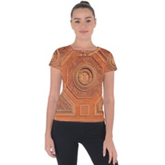 Symbolism Paneling Oriental Ornament Pattern Short Sleeve Sports Top