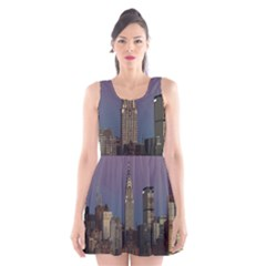 Skyline City Manhattan New York Scoop Neck Skater Dress