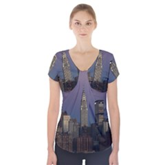 Skyline City Manhattan New York Short Sleeve Front Detail Top