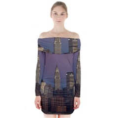 Skyline City Manhattan New York Long Sleeve Off Shoulder Dress