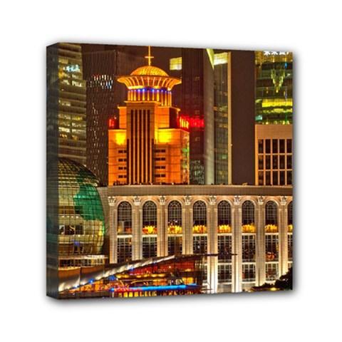 Shanghai Skyline Architecture Mini Canvas 6  X 6
