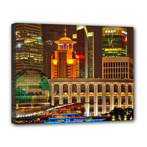 Shanghai Skyline Architecture Canvas 14  X 11  by BangZart