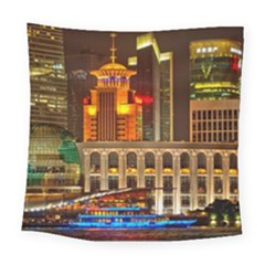 Shanghai Skyline Architecture Square Tapestry (large)