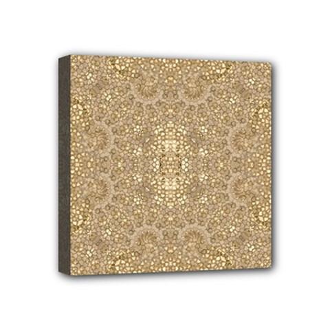 Ornate Golden Baroque Design Mini Canvas 4  X 4  by dflcprints