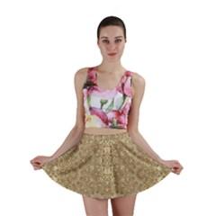 Ornate Golden Baroque Design Mini Skirt by dflcprints