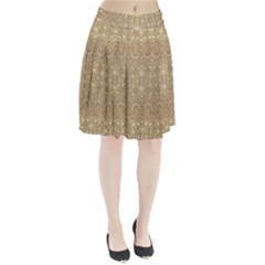 Ornate Golden Baroque Design Pleated Skirt by dflcprints