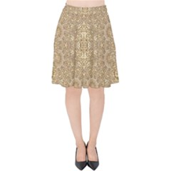 Ornate Golden Baroque Design Velvet High Waist Skirt by dflcprints