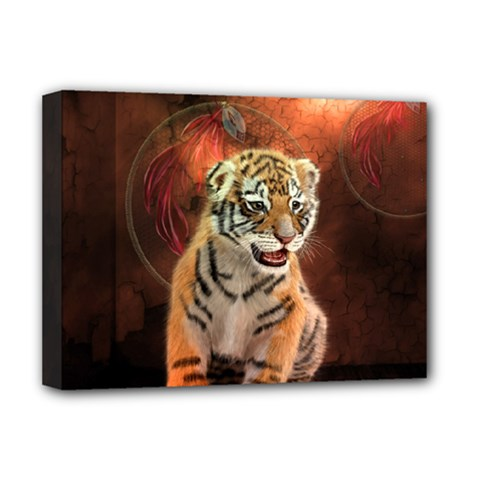 Cute Little Tiger Baby Deluxe Canvas 16  X 12   by FantasyWorld7