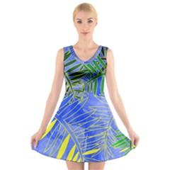 Tropical Palms V Neck Sleeveless Skater Dress by allgirls