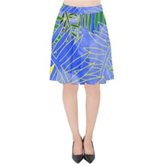 Tropical Palms Velvet High Waist Skirt