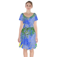 Tropical Palms Short Sleeve Bardot Dress