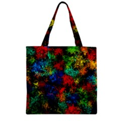 Squiggly Abstract A Zipper Grocery Tote Bag by MoreColorsinLife