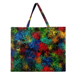 Squiggly Abstract A Zipper Large Tote Bag by MoreColorsinLife