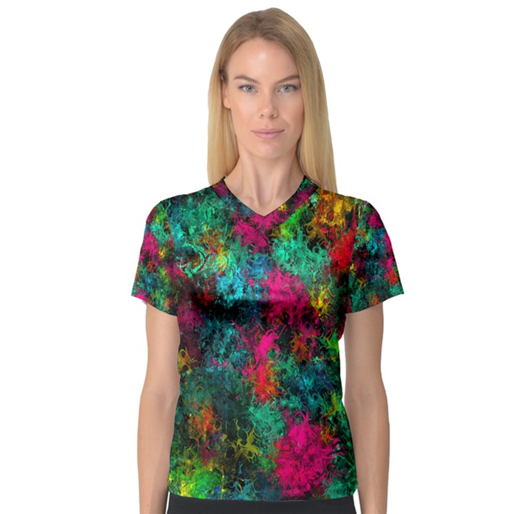 Squiggly Abstract B V-Neck Sport Mesh Tee