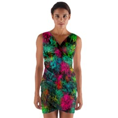 Squiggly Abstract B Wrap Front Bodycon Dress by MoreColorsinLife