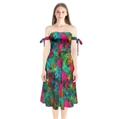 Squiggly Abstract B Shoulder Tie Bardot Midi Dress