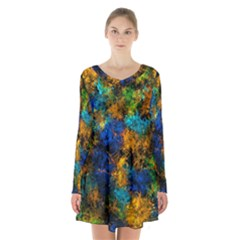 Squiggly Abstract C Long Sleeve Velvet V Neck Dress by MoreColorsinLife