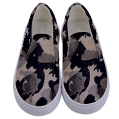 Black And White Splatter Kids  Canvas Slip Ons