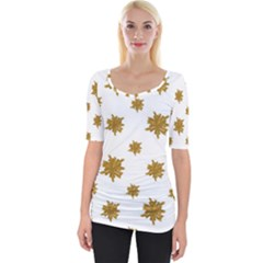 Graphic Nature Motif Pattern Wide Neckline Tee