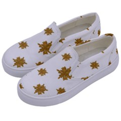 Graphic Nature Motif Pattern Kids  Canvas Slip Ons by dflcprints