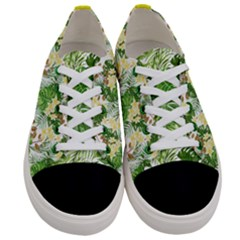 Green Leafs With Flowers Women s Low Top Canvas Sneakers