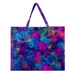 Squiggly Abstract E Zipper Large Tote Bag by MoreColorsinLife