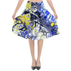 Awesome Fractal 35a Flared Midi Skirt by MoreColorsinLife
