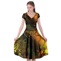 Awesome Fractal 35e Cap Sleeve Wrap Front Dress by MoreColorsinLife