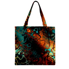 Awesome Fractal 35f Zipper Grocery Tote Bag by MoreColorsinLife