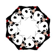 Girl And Panda Hook Handle Umbrellas (small) by Valentinaart
