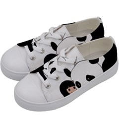 Girl And Panda Kids  Low Top Canvas Sneakers by Valentinaart