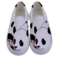 Girl And Panda Kids  Canvas Slip Ons