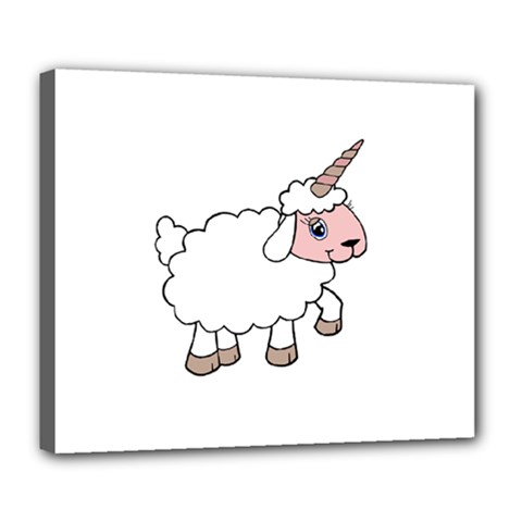 Unicorn Sheep Deluxe Canvas 24  X 20   by Valentinaart