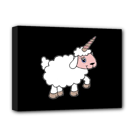 Unicorn Sheep Deluxe Canvas 16  X 12   by Valentinaart