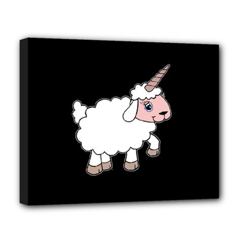 Unicorn Sheep Deluxe Canvas 20  X 16   by Valentinaart