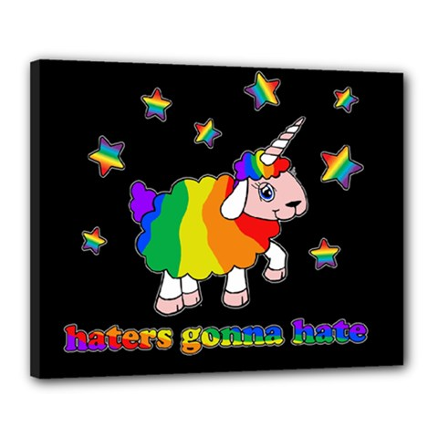 Unicorn Sheep Canvas 20  X 16  by Valentinaart