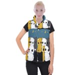 Cute cats Women s Button Up Puffer Vest