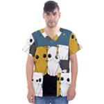 Cute cats Men s V-Neck Scrub Top