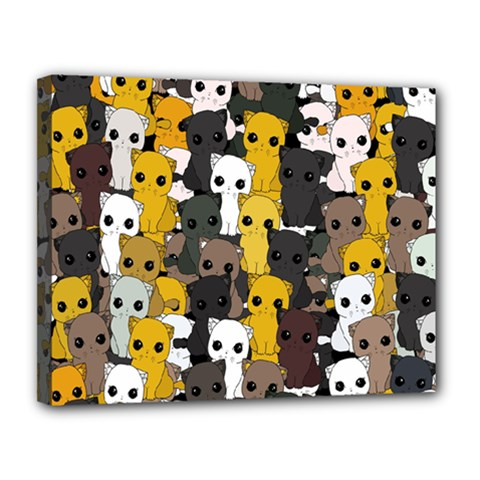Cute Cats Pattern Canvas 14  X 11  by Valentinaart